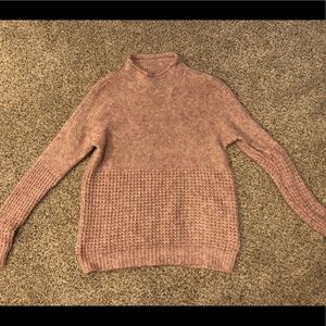 american eagle mock neck pink sweater, size medium